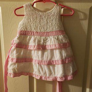 NWT OKIE DOKIE Smocked White & Pink Eyelet Dress